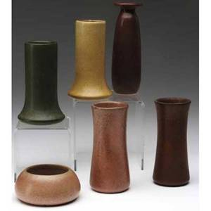Marblehead five bud vases and one small bowl covered in oxblood speckled pink brown mustard and green matte glaze from the collection of arthur baggs daughter mary trowbridge baggs tweet of to