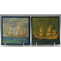 Marblehead two tiles both painted with ships at sea from the collection of arthur baggs daughter mary trowbridge baggs tweet of tolland connecticut ship marks and paper label 5 12 sq