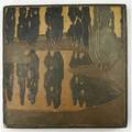 Marblehead exceptional tile incised with a landscape of poplar trees reflected in a pond from the collection of arthur baggs daughter mary trowbridge baggs tweet of tolland connecticut tile mou