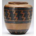 Arthur baggs early vase incised with native american pattern in black on brown 1903 one of baggs earliest efforts at the tender age of 17 this piece is slightly coarse and full of promise from