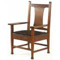 Roycroft armchair with tackedon leather seat and macmurdo feet carved orb and cross mark 43 x 23 12 x 28 12