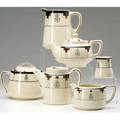 Roycroft six tea and coffee items all marked with orb and cross and buffalo stamp