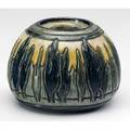 Newcomb college early inkwell decorated by leona nicholson with deeply carved trees in blue and green against a shaded yellow ground 1908 includes liner missing lid nclnjmcg87q 2 12 x 3 14