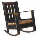 Limbert early rocker no 804 14 with its original cushion on a rope foundation curved arms and rounded leg bases 1903 unmarked 37 x 27 34 x 24 34