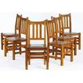 Stickley brothers set of six dining chairs no 379 12 with tackedon vinyl seats quaint decals 38 x 18 38 x 16