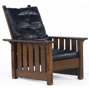 Gustav stickley morris chair no 332 with a dropin spring seat recovered in black leather unmarked 41 x 31 x 38 14