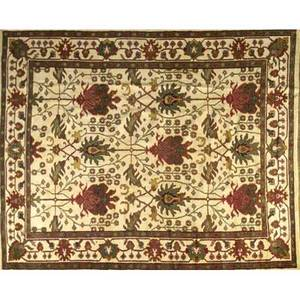 William morris style roomsize rug with a large poppy pod and vine pattern in deep cherry and celadon on a pale ochre field 96 x 123