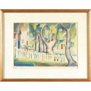 Hope hazard voorhees american 18911970 color woodblock print provincetown trees 1935 matted and framed signed and dated lower right sight 12 x 16 12