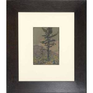 Eliza draper gardiner watercolor of a tall tree in mountainous landscape matted and mounted in new arts  crafts frame unmarked image 9 x 6 14