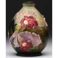 Camille faure enameldecorated metal vase with pink blossoms on a yellow to green ground unmarked 5 12 x 4