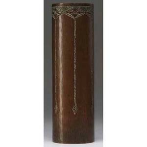 Roycroft hammered copper cylindrical vase embossed with quatrefoils below a verdigris band of contrasting hammering orb and cross mark with walter jennings two dot mark within the orb 10 x 3 stai