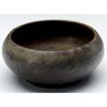 Charles fergus binns squat bowl covered in frothy brown glaze incised mark 2 12 x 5 12 dia