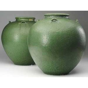 Grueby pair of massive fourhandled bulbous vases by wilhelmina post covered in frothy matte green glaze circular pottery stamps partial paper label 13 14 each