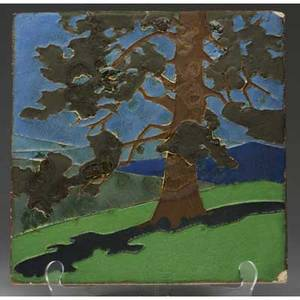 Van briggle fine and large tile decorated in cuenca with a tree against a mountainous landscape three small nicks overall 34 chip to two corners mounted in new arts  crafts frame impressed mark