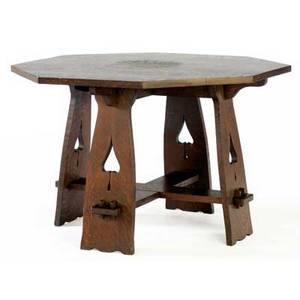 Limbert game table no 120 with octagonal top and trestle legs with spade cutouts unmarked 29 x 45 sq
