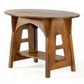 Limbert oval library table no 148 with flaring cutout sides branded and numbered 29 x 45 x 29 34