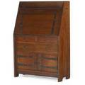Gustav stickley early dropfront desk no 550 with drawers and doors with strap hinges gallery interior flush tenons and chamfered back large red decal 47 34 x 32 12 x 13 34