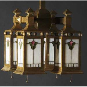 Handel hanging light fixture with four drops of leaded slag glass unmarked 24 x 11