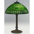 Arts and crafts table lamp with a leaded glass hemispherical shade of brickwork pattern in green and white over a twosocket classical base possibly duffner  kimberly unmarked 22 x 16 dia