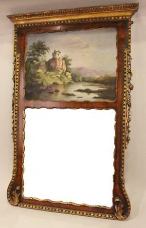 19th Century Walnut Trumeau Mirror