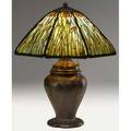 Handel large and exceptional cattail table lamp its bulbous threesocket base in the style of william grueby with alternating leaves and buds topped by an octagonal shade showing brown cattails and