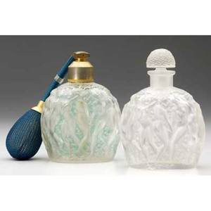 Rene lalique habanito two perfume bottles for molinard of clear and frosted glass one with blue patina worn fitted with atomizer c 1929 stenciled r lalique molinard paris france engraved r