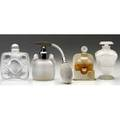 Rene lalique four perfume bottles of clear and frosted glass including les cinq fleurs bouquet de faunes one oillet for worth containing perfume and one rare lalique bottle with birds talle