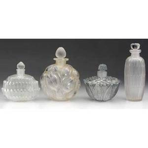 Rene lalique four perfume bottles of clear and frosted glass helene amelie bouquet and petites feuilles engraved and molded marks tallest 4 14