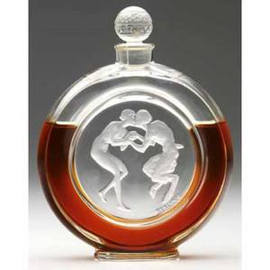 Rene lalique le baiser du faune perfume bottle for molinard of clear and frosted glass c 1928 molded r lalique engraved molinard paris france m p 945 no 2 5 34