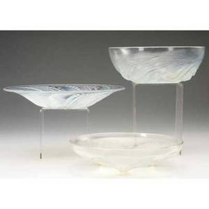 Rene lalique three opalescent glass bowls ondines volubilis c 1921 and fleurons no 2 c 1935 m pp 292 293 and nos 380 383 103043 wheelcut stenciled and molded marks largest
