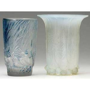 Rene lalique two vases eucalyptus of opalescent glass c 1925 molded r lalique and coqs et plumes of clear and frosted glass with blue patina c 1928 wheelcut r lalique france m pp 425