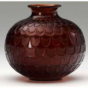 Rene lalique grenade vase of dark amber glass m p 448 no 1045 engraved r lalique france 4 12 x 4 12