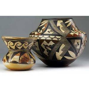 Native american southwest two vessels acoma olla ca 1900 with hopi trumpet pot ca 1930 olla exhibited in american arts  crafts from the collection of alexandra and sidney sheldon palm spr
