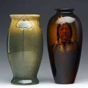 Owens two vases utopian painted by f best with native american chief and lotus painted with thistle lotus exhibited in amercan arts  crafts from the collection of alexandra and sidney sheldon