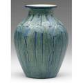 Newcomb college transitional vase beautifully carved by a f simpson with blue irises and tall green leaves ncafsb 6 34 x 4 34