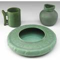 Teco three pieces vase with threesided rim handled cup and squat bowl with berries all covered in matte green glaze stamped marks bowl 9 14 dia