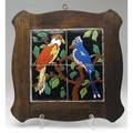 Taylor tiled table top with two exotic birds in polychrome original wooden frame cracks to two tiles tiles 6 each panel 19 sq