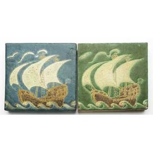 Grueby two tiles each decorated in cuenca with a tall ship in yellow mustard and brown on curdled green or blue ground exhibited in amercan arts  crafts from the collection of alexandra and sid