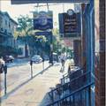 Colette sexton american 20th c walking bridge street lambertville oil on board framed signed 18 x 18 provenance private collection new jersey