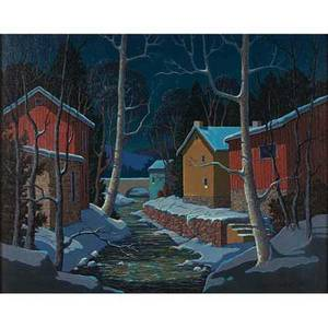 Vernon wood american 19231995 carversville creek oil on canvas framed signed and titled 24 x 30 provenance private collection pennsylvania