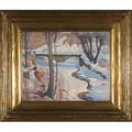 Arthur meltzer american 18931989 untitled 1922 oil on canvas both sides in a period newcomb macklin frame signed 16 x 20 25 12 x 29 12 frame provenance private collection pennsy