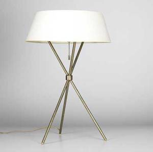 Th robsjohngibbings hansen table lamp with ecru paper shade white enameled metal reflector and three sockets on brass tripod base reflector stamped hansennew york 21 12 x 17