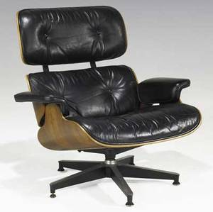 Charles and ray eames herman miller rosewood lounge chair with black leather upholstery rectangular herman miller foil label 33 14 x 33 x 33