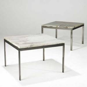 Florence knoll knoll pair of polished steel side tables with white marble tops 20 12 x 30 sq