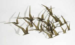 Curtis jere seagulls bronze plated steel wall sculpture signed c jere 1968 20 x 58 x 8