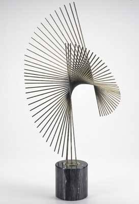 Curtis jere anodized steel rods sculpture on dark marble base 1987 signed and dated 35 x 22 12