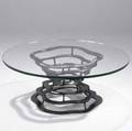 Silas seandel burnished and welded steel coffee table with plate glass top 1974 signed silas seandel 74 16 34 x 42 dia
