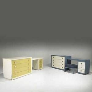 James mont two four drawer dressers each with removable three drawer writing surface one with matching ottoman each dresser branded james mont dresser 32 12 x 48 x 21 desk 28 12 x 47 34