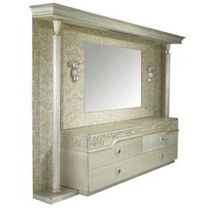 James mont pair of three drawer dressers with mirror and surrounding wall treatment dressers branded james mont design 89 x 130 x 22 dressers 32 x 47 12 x 20