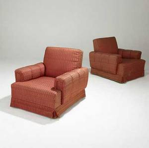 James mont club chairs in patterned wool upholstery on square mahogany legs fabric label fashioned by james mont 31 x 32 x 35